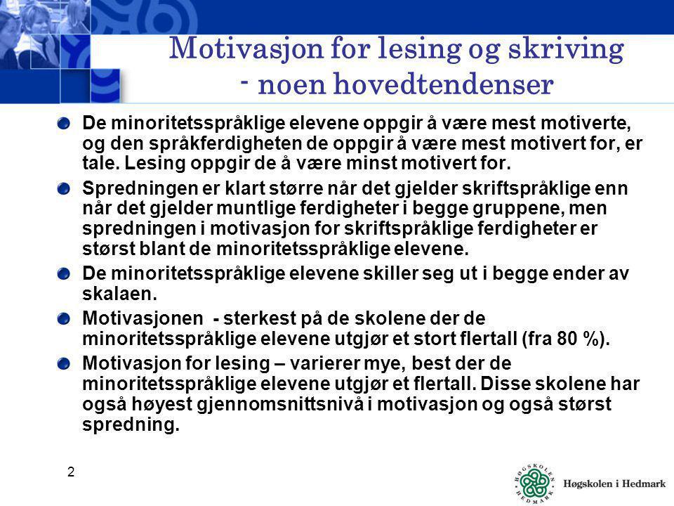 3 Resultater fra 7.trinn De minoritetsspråklige elevene uttrykker seg mest positivt om sin egen motivasjon.