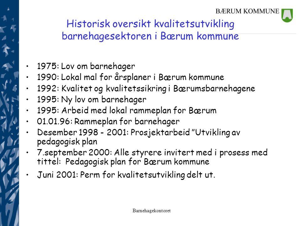 Barnehagekontoret Historisk oversikt kvalitetsutvikling barnehagesektoren i Bærum kommune 1975: Lov om barnehager 1990: Lokal mal for årsplaner i Bæru