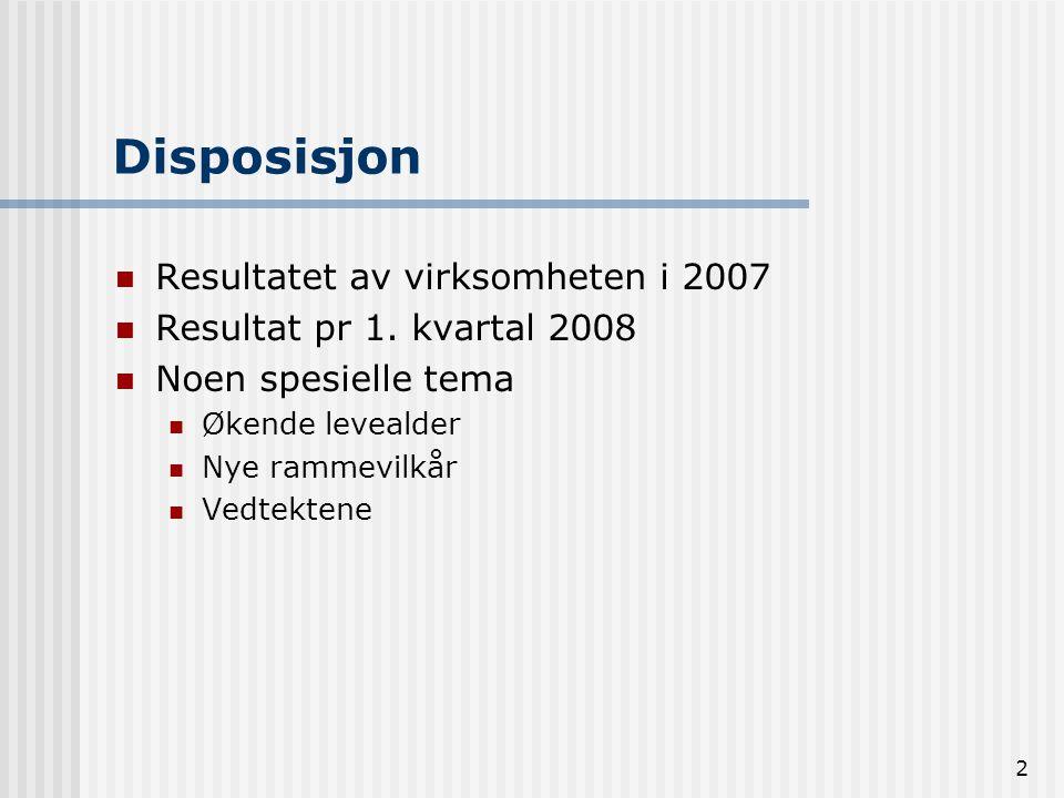2 Disposisjon Resultatet av virksomheten i 2007 Resultat pr 1. kvartal 2008 Noen spesielle tema Økende levealder Nye rammevilkår Vedtektene