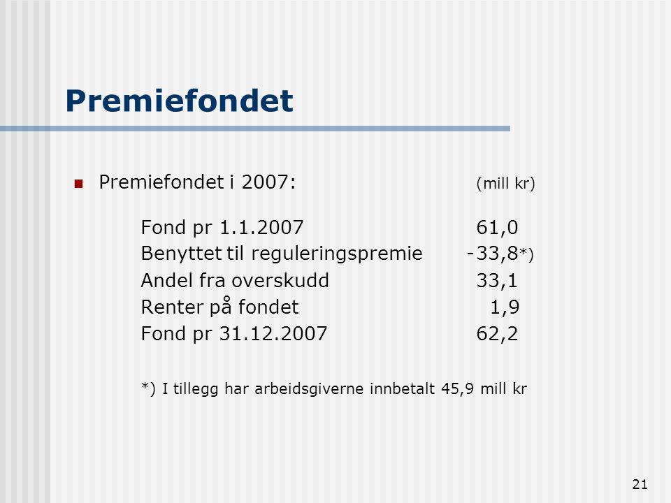 21 Premiefondet Premiefondet i 2007: (mill kr) Fond pr 1.1.200761,0 Benyttet til reguleringspremie -33,8 *) Andel fra overskudd 33,1 Renter på fondet