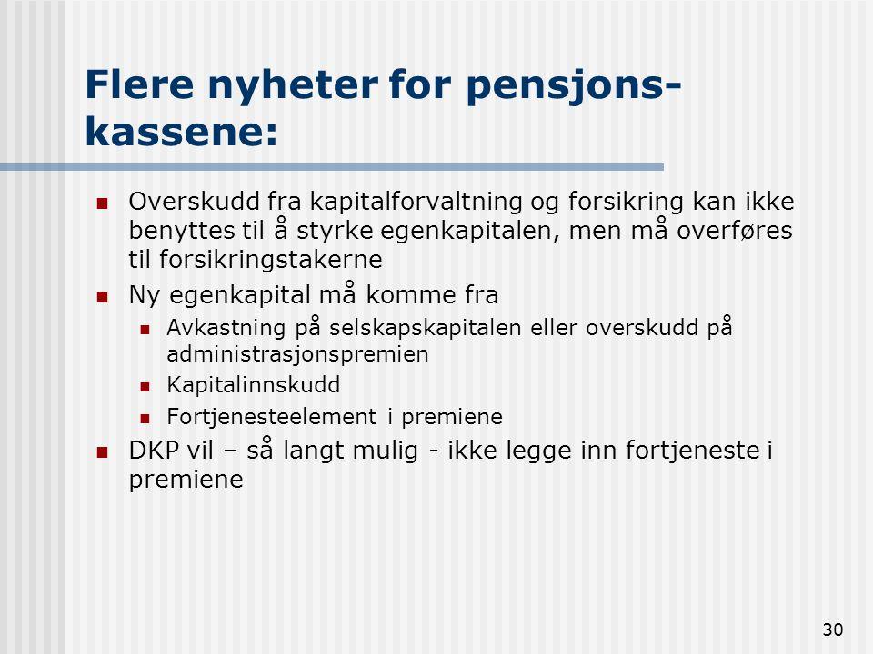 30 Flere nyheter for pensjons- kassene: Overskudd fra kapitalforvaltning og forsikring kan ikke benyttes til å styrke egenkapitalen, men må overføres