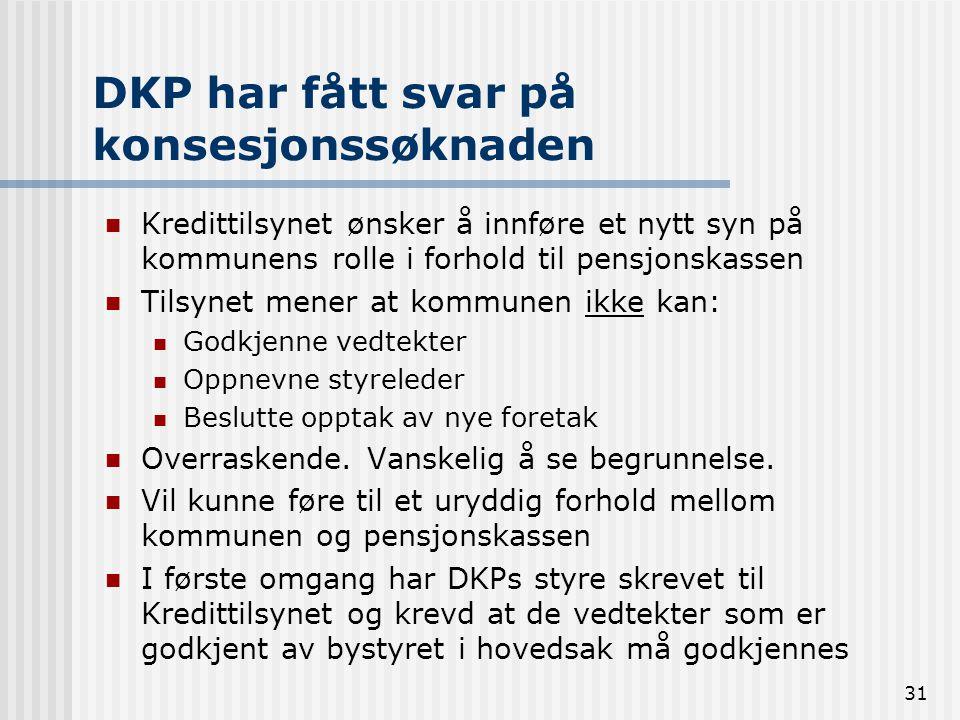 31 DKP har fått svar på konsesjonssøknaden Kredittilsynet ønsker å innføre et nytt syn på kommunens rolle i forhold til pensjonskassen Tilsynet mener
