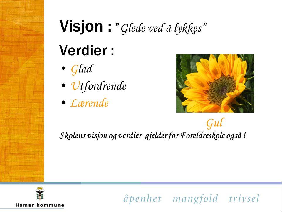 """Visjon : """" Glede ved å lykkes"""" Verdier : Glad Utfordrende Lærende Gul Skolens visjon og verdier gjelder for Foreldreskole også !"""