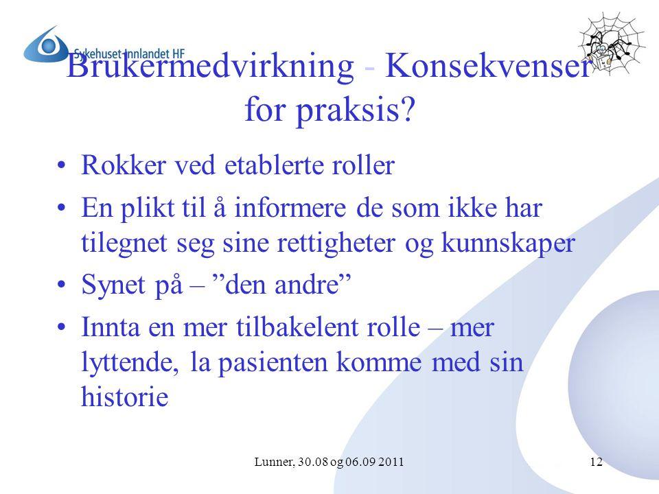 Lunner, 30.08 og 06.09 201112 Brukermedvirkning - Konsekvenser for praksis.
