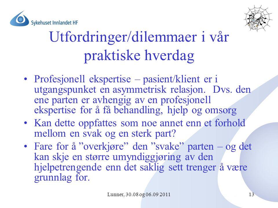 Lunner, 30.08 og 06.09 201113 Utfordringer/dilemmaer i vår praktiske hverdag Profesjonell ekspertise – pasient/klient er i utgangspunket en asymmetrisk relasjon.