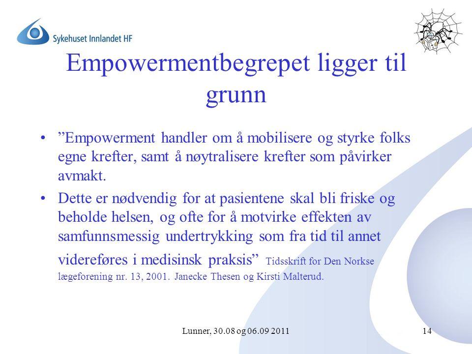 Lunner, 30.08 og 06.09 201114 Empowermentbegrepet ligger til grunn Empowerment handler om å mobilisere og styrke folks egne krefter, samt å nøytralisere krefter som påvirker avmakt.