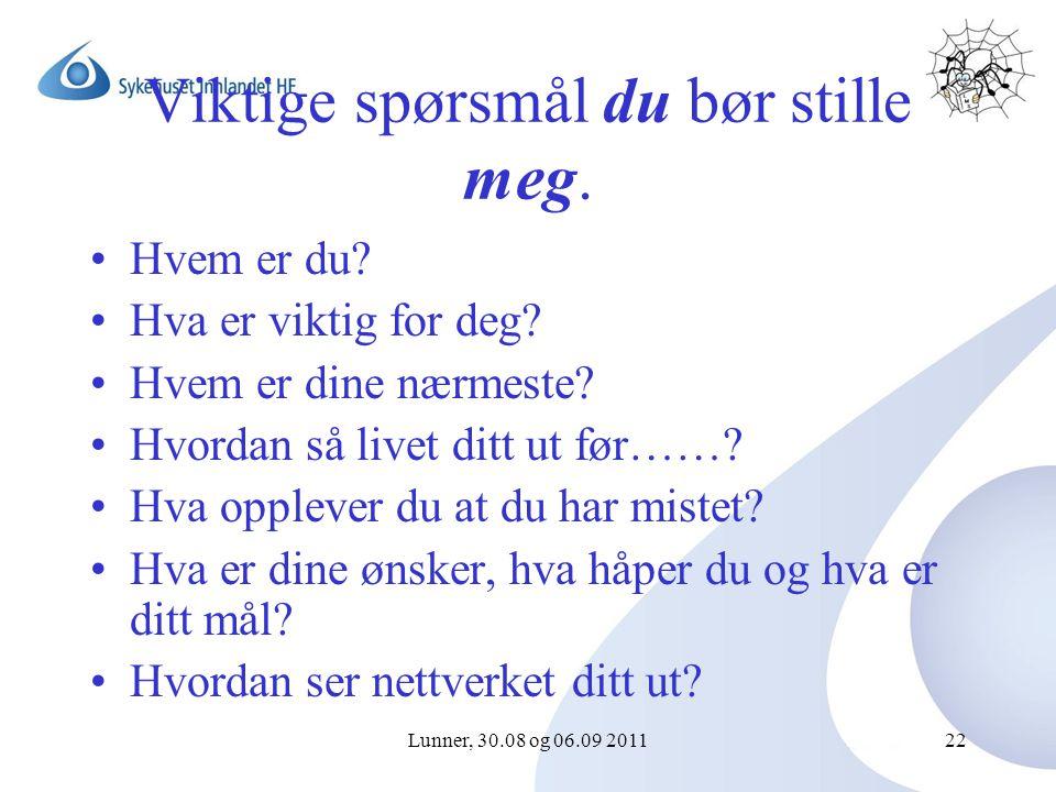 Lunner, 30.08 og 06.09 201122 Viktige spørsmål du bør stille meg.