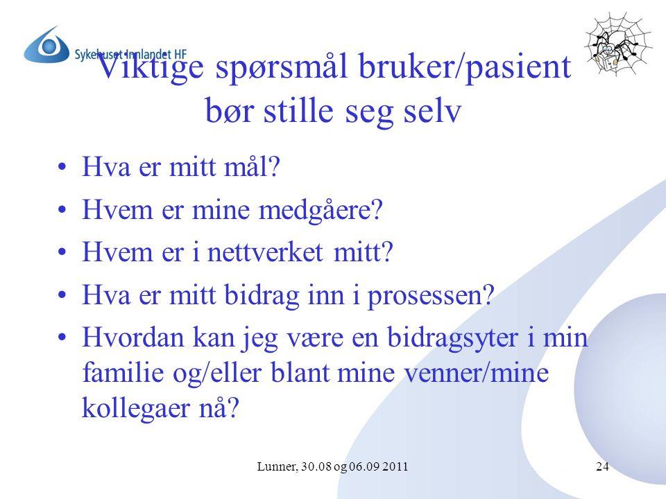 Lunner, 30.08 og 06.09 201124 Viktige spørsmål bruker/pasient bør stille seg selv Hva er mitt mål.