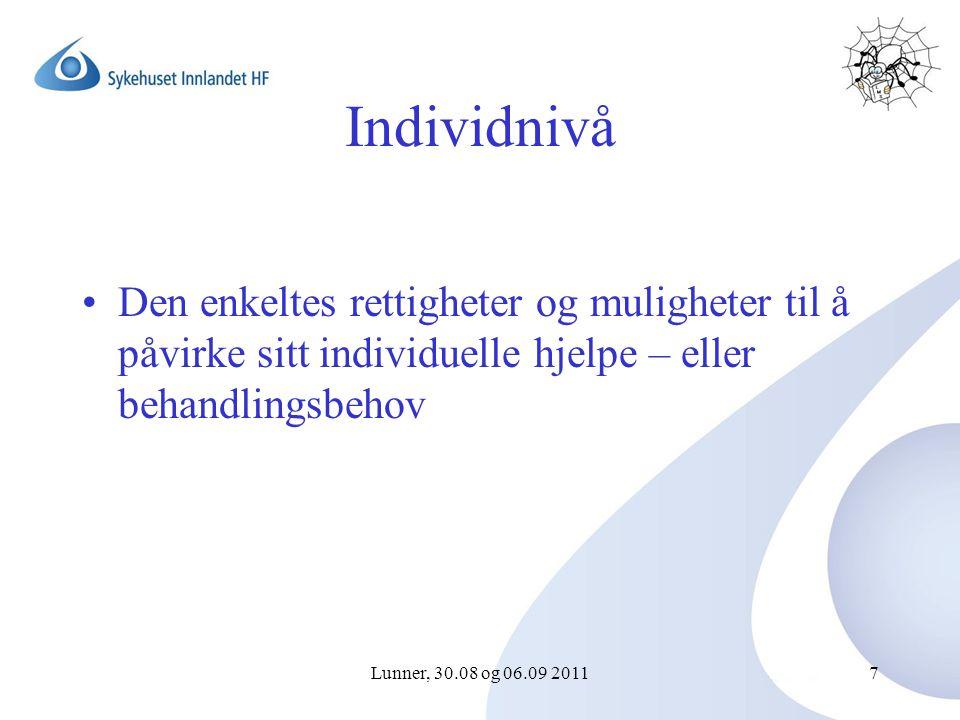 Lunner, 30.08 og 06.09 20117 Individnivå Den enkeltes rettigheter og muligheter til å påvirke sitt individuelle hjelpe – eller behandlingsbehov