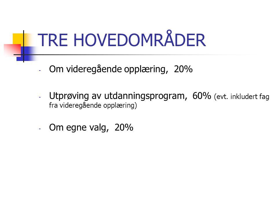 TRE HOVEDOMRÅDER - Om videregående opplæring, 20% - Utprøving av utdanningsprogram, 60% (evt. inkludert fag fra videregående opplæring) - Om egne valg