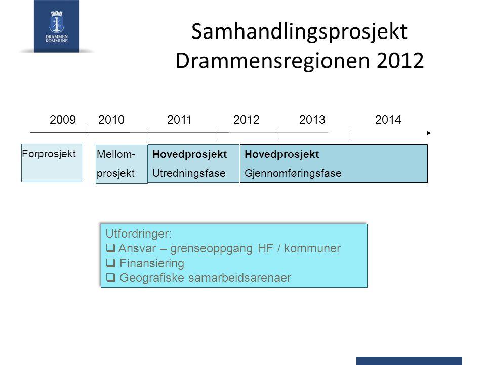 Samhandlingsprosjekt Drammensregionen 2012 20092010 2011 2012 2013 2014 Forprosjekt Mellom- prosjekt Hovedprosjekt Utredningsfase Hovedprosjekt Gjenno