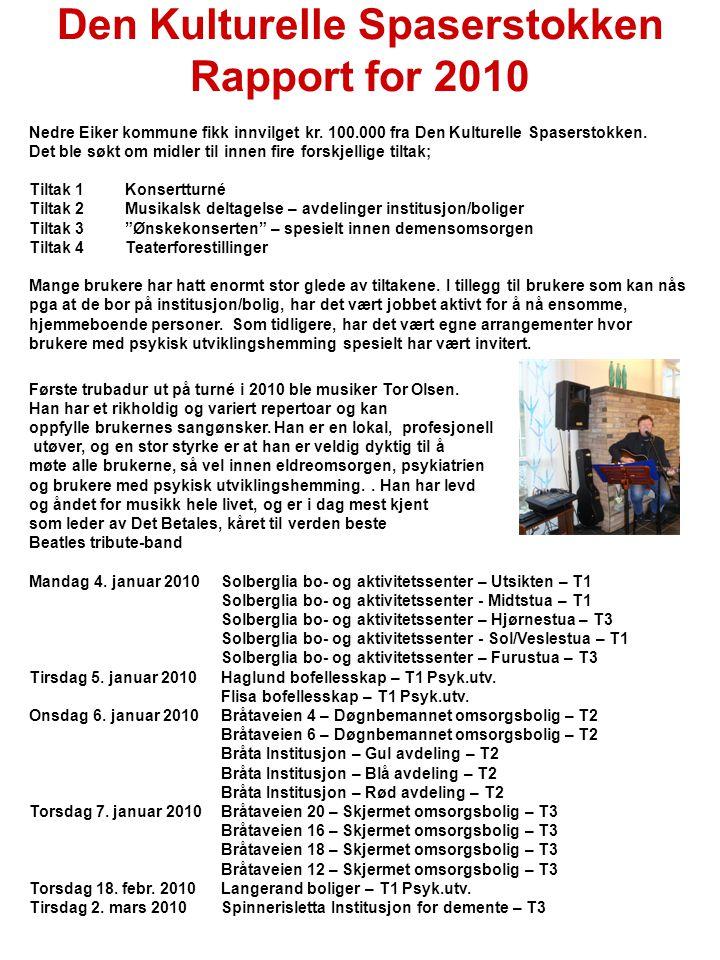 Den Kulturelle Spaserstokken Rapport for 2010 Nedre Eiker kommune fikk innvilget kr.