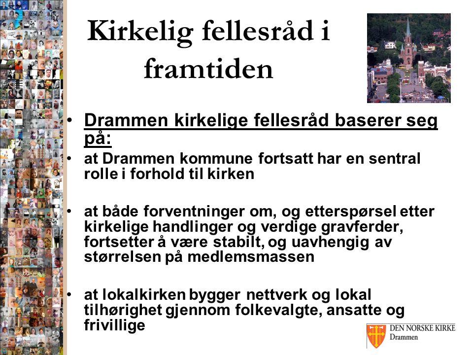Kirkelig fellesråd i framtiden Drammen kirkelige fellesråd baserer seg på: at Drammen kommune fortsatt har en sentral rolle i forhold til kirken at bå