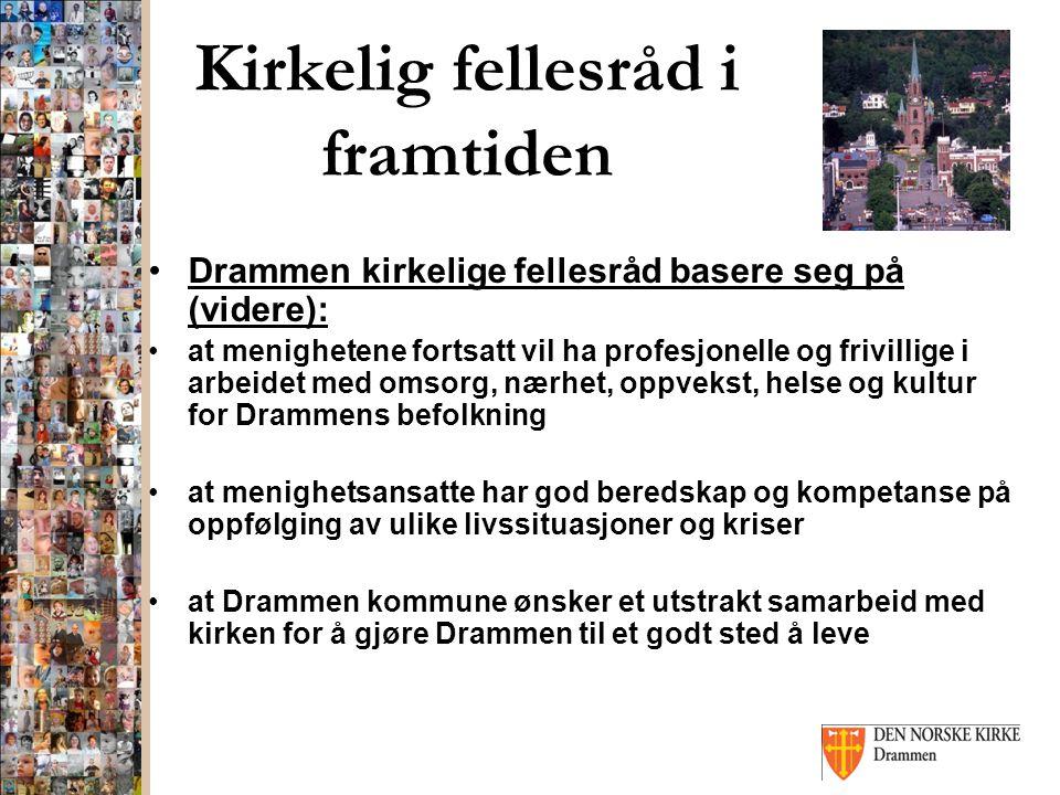 Kirkelig fellesråd i framtiden Drammen kirkelige fellesråd basere seg på (videre): at menighetene fortsatt vil ha profesjonelle og frivillige i arbeid