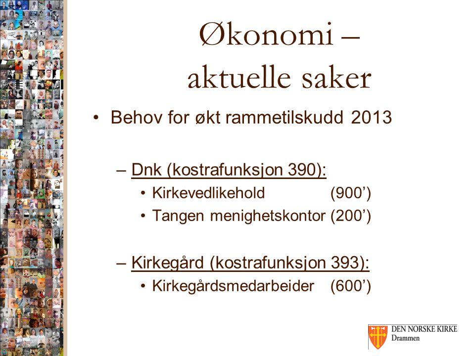 Økonomi – aktuelle saker Behov for økt rammetilskudd 2013 –Dnk (kostrafunksjon 390): Kirkevedlikehold(900') Tangen menighetskontor(200') –Kirkegård (k