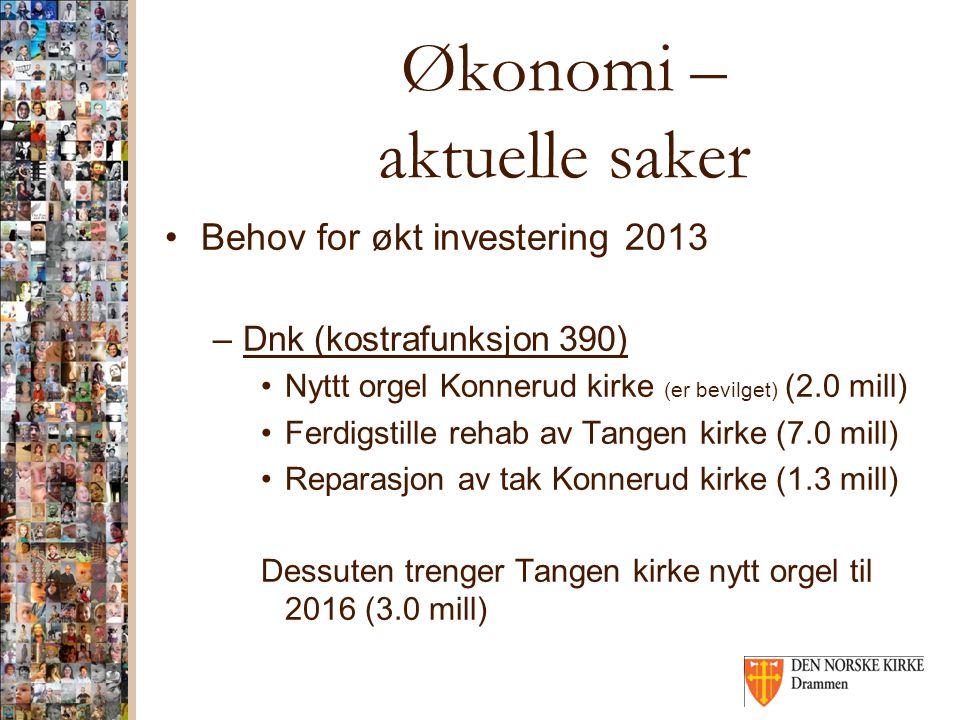 Økonomi – aktuelle saker Behov for økt investering 2013 –Dnk (kostrafunksjon 390) Nyttt orgel Konnerud kirke (er bevilget) (2.0 mill) Ferdigstille reh