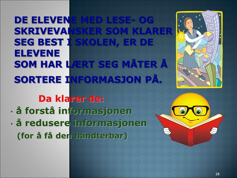 28 Da klarer de: å forstå informasjonen å forstå informasjonen å redusere informasjonen å redusere informasjonen (for å få den håndterbar) (for å få den håndterbar)