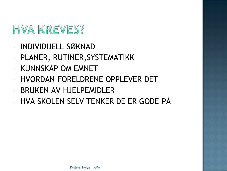  INDIVIDUELL SØKNAD  PLANER, RUTINER,SYSTEMATIKK  KUNNSKAP OM EMNET  HVORDAN FORELDRENE OPPLEVER DET  BRUKEN AV HJELPEMIDLER  HVA SKOLEN SELV TENKER DE ER GODE PÅ Dysleksi Norge ÅMA
