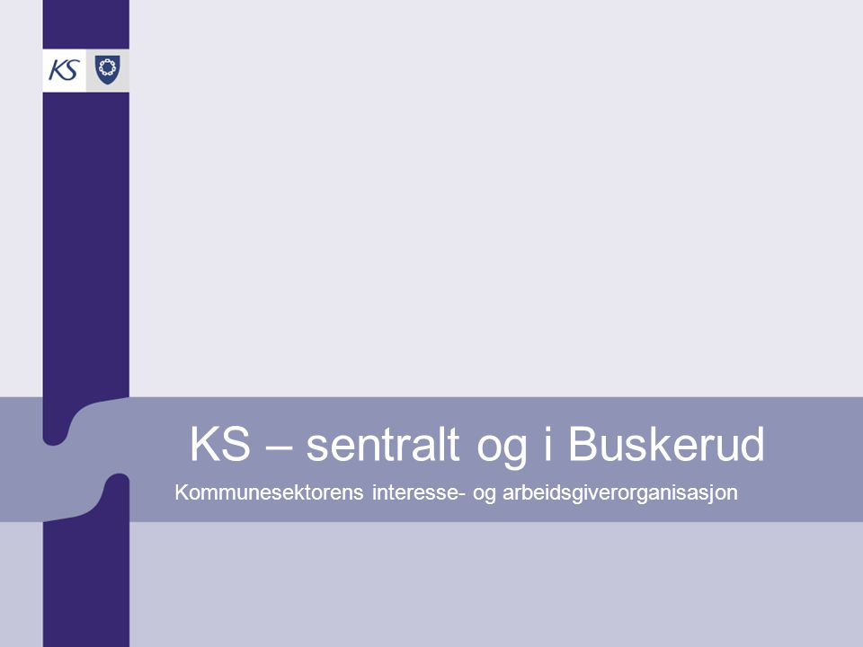 KS – sentralt og i Buskerud Kommunesektorens interesse- og arbeidsgiverorganisasjon