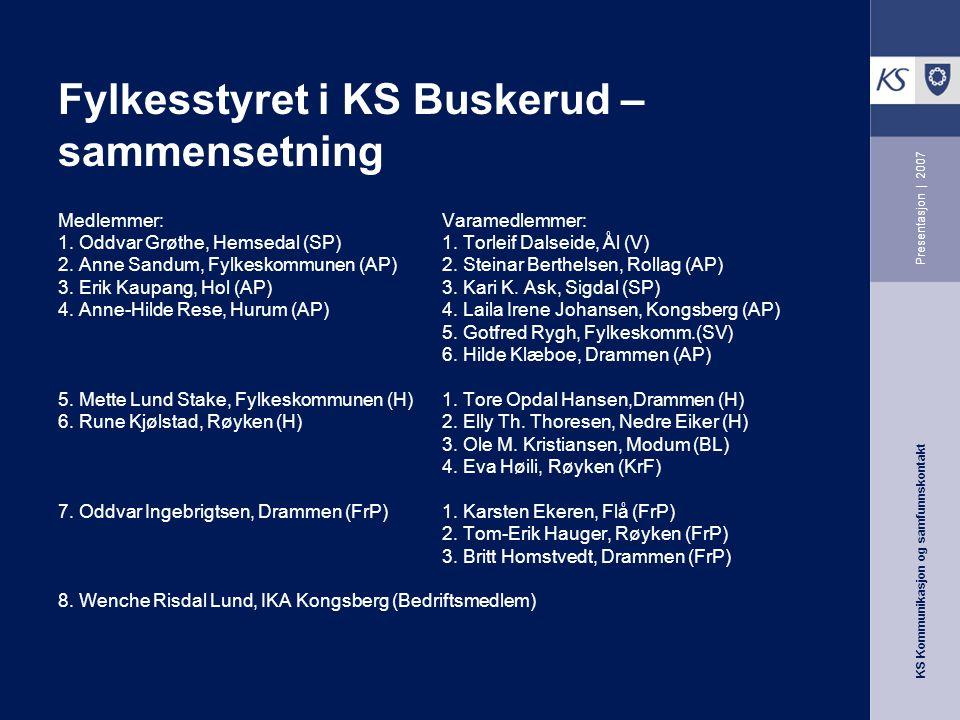 KS Kommunikasjon og samfunnskontakt Presentasjon | 2007 Fylkesstyret i KS Buskerud – sammensetning Medlemmer: Varamedlemmer: 1. Oddvar Grøthe, Hemseda