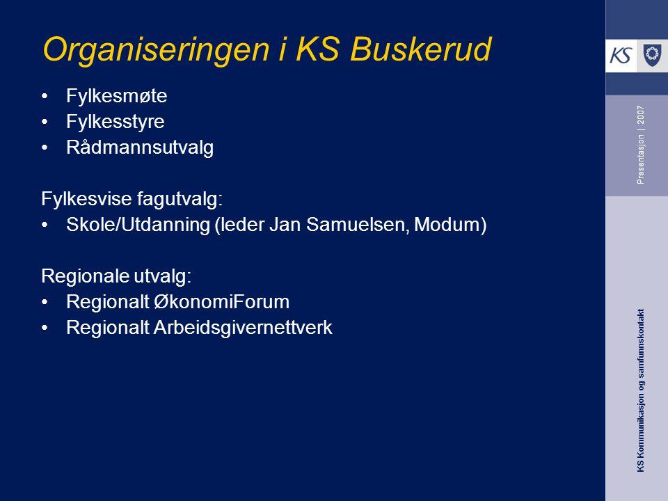 KS Kommunikasjon og samfunnskontakt Presentasjon | 2007 Organiseringen i KS Buskerud Fylkesmøte Fylkesstyre Rådmannsutvalg Fylkesvise fagutvalg: Skole