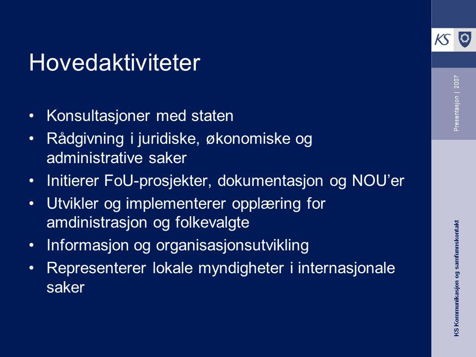 KS Kommunikasjon og samfunnskontakt Presentasjon | 2007 Hovedaktiviteter Konsultasjoner med staten Rådgivning i juridiske, økonomiske og administrativ