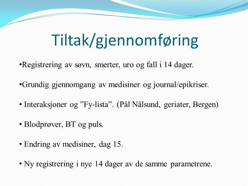 """Tiltak/gjennomføring Registrering av søvn, smerter, uro og fall i 14 dager. Grundig gjennomgang av medisiner og journal/epikriser. Interaksjoner og """"F"""