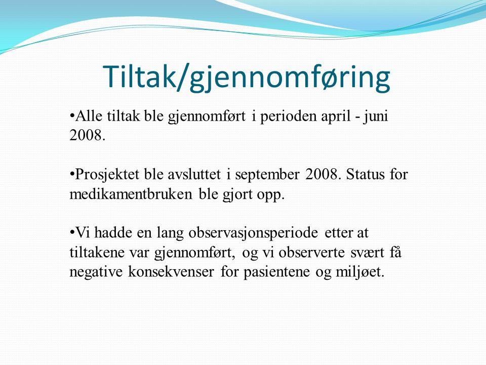Tiltak/gjennomføring Alle tiltak ble gjennomført i perioden april - juni 2008. Prosjektet ble avsluttet i september 2008. Status for medikamentbruken