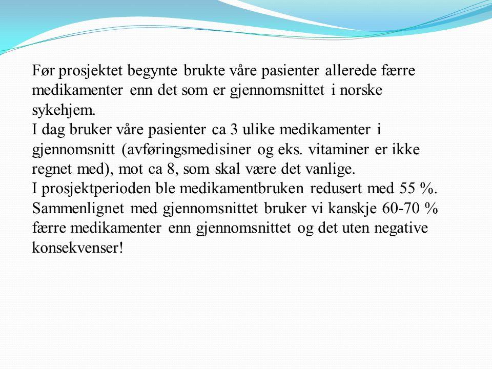 Før prosjektet begynte brukte våre pasienter allerede færre medikamenter enn det som er gjennomsnittet i norske sykehjem. I dag bruker våre pasienter