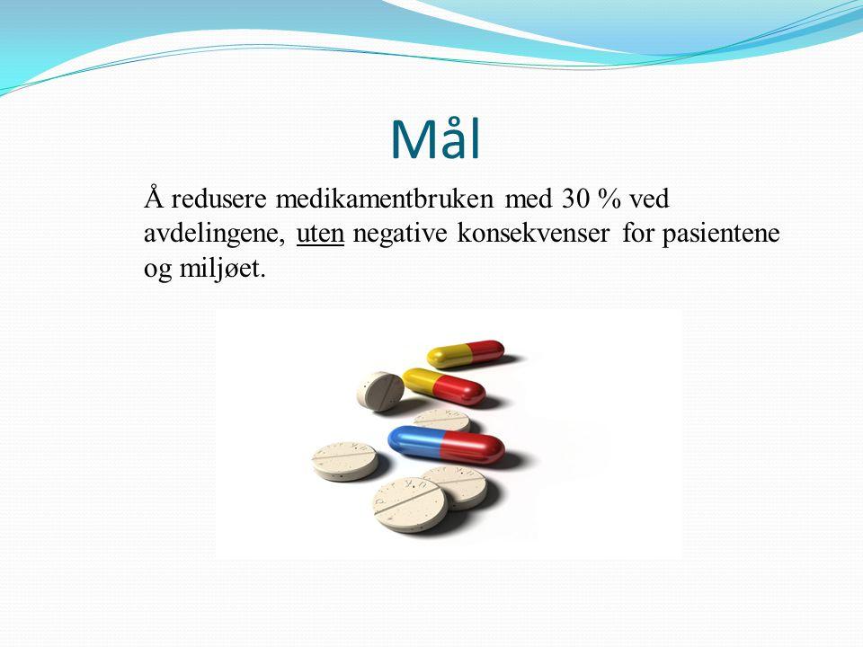 Å redusere medikamentbruken med 30 % ved avdelingene, uten negative konsekvenser for pasientene og miljøet. Mål