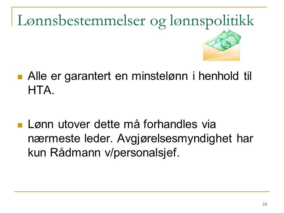 Ved overgang til ny stilling er utgangspunktet minstelønnsbestemmelsene i HTA.