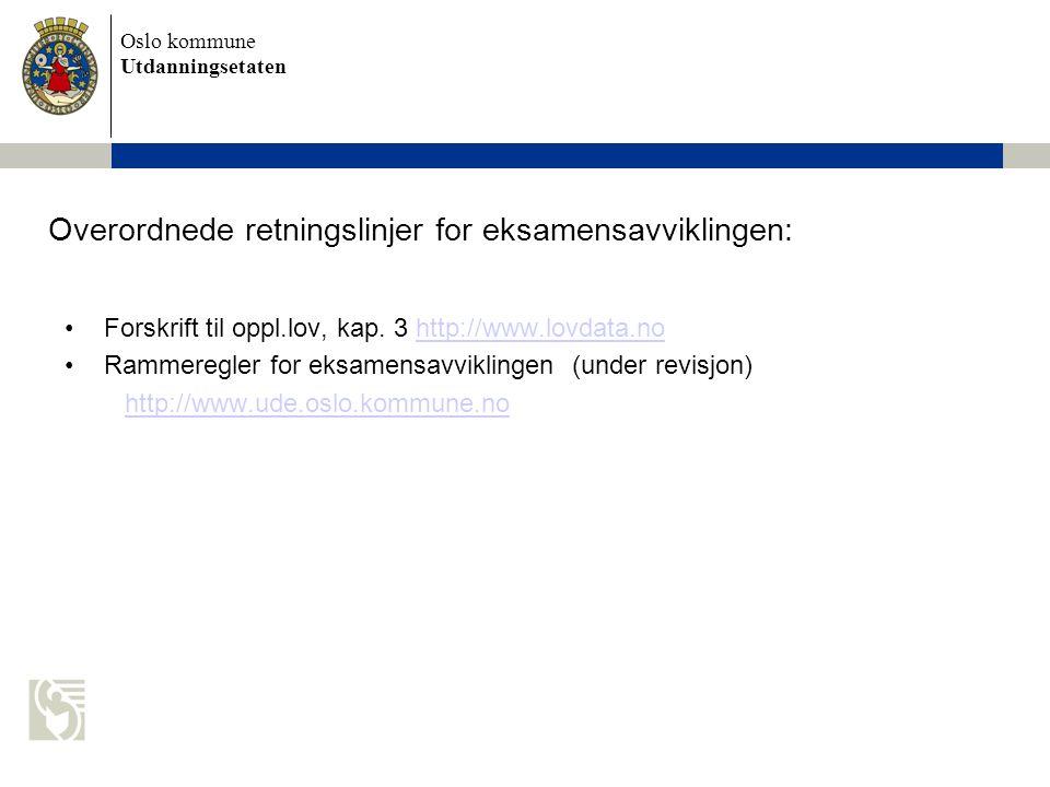 Oslo kommune Utdanningsetaten Overordnede retningslinjer for eksamensavviklingen: Forskrift til oppl.lov, kap. 3 http://www.lovdata.nohttp://www.lovda