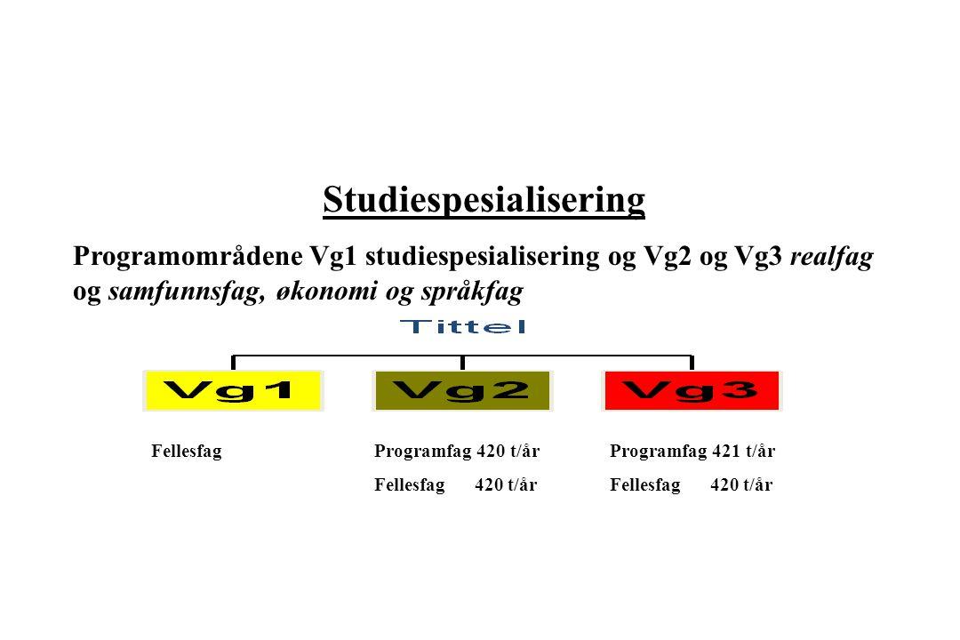 Programfag 420 t/år Fellesfag 420 t/år Programfag 421 t/år Fellesfag 420 t/år Fellesfag Studiespesialisering Programområdene Vg1 studiespesialisering