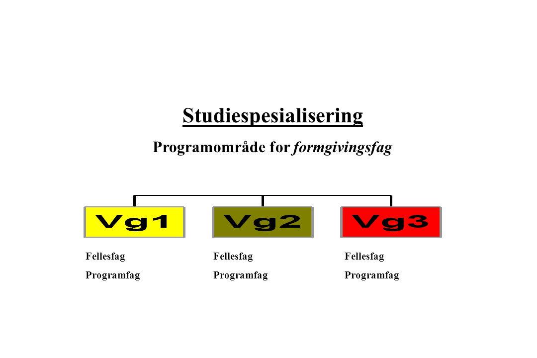 Studiespesialisering Programområde for formgivingsfag Fellesfag Programfag Fellesfag Programfag Fellesfag Programfag