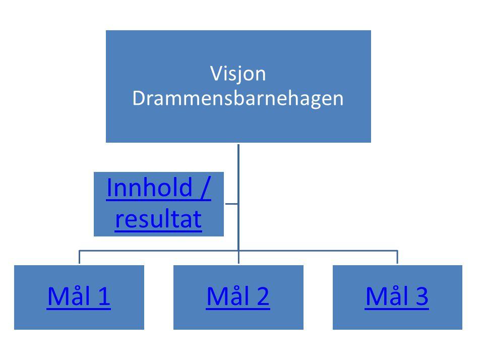 Visjon Drammensbarnehagen Mål 1Mål 2Mål 3 Innhold / resultat