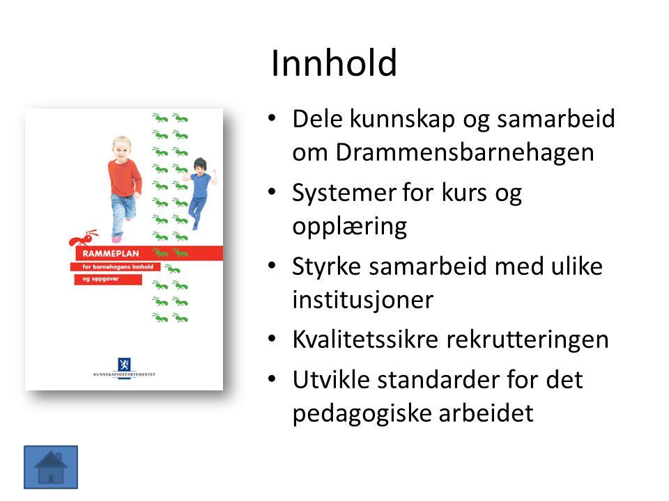 Innhold Dele kunnskap og samarbeid om Drammensbarnehagen Systemer for kurs og opplæring Styrke samarbeid med ulike institusjoner Kvalitetssikre rekrut