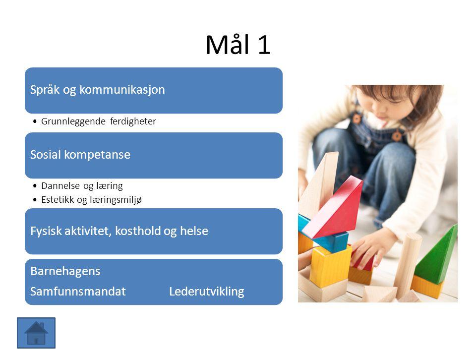 Mål 1 Språk og kommunikasjon Grunnleggende ferdigheter Sosial kompetanse Dannelse og læring Estetikk og læringsmiljø Fysisk aktivitet, kosthold og hel