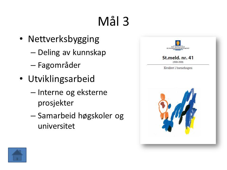 Mål 3 Nettverksbygging – Deling av kunnskap – Fagområder Utviklingsarbeid – Interne og eksterne prosjekter – Samarbeid høgskoler og universitet