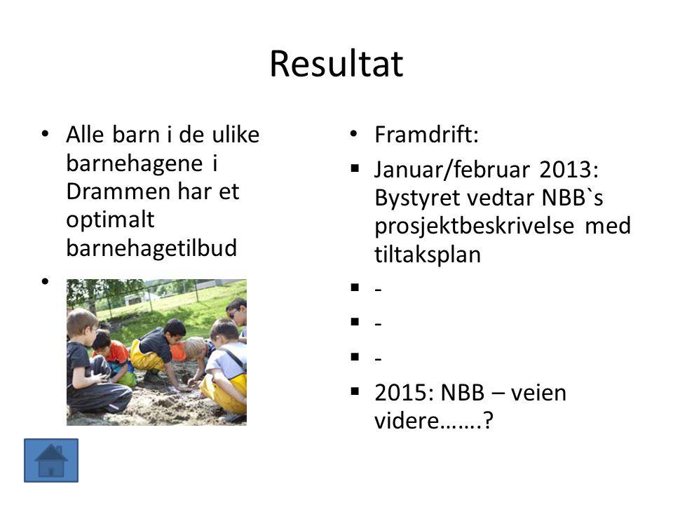 Resultat Alle barn i de ulike barnehagene i Drammen har et optimalt barnehagetilbud Framdrift:  Januar/februar 2013: Bystyret vedtar NBB`s prosjektbe