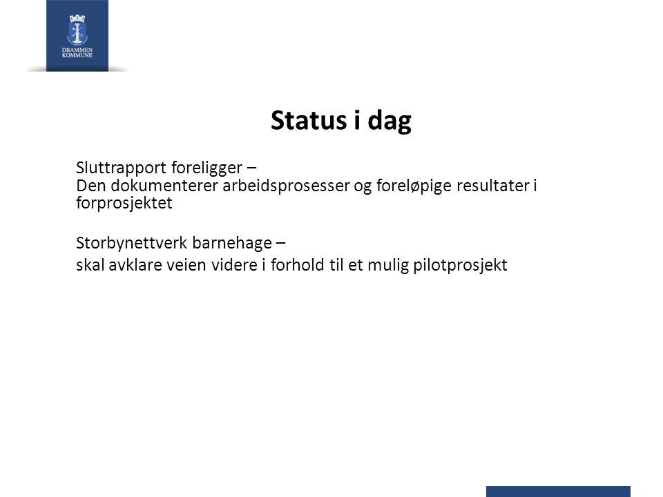 Status i dag Sluttrapport foreligger – Den dokumenterer arbeidsprosesser og foreløpige resultater i forprosjektet Storbynettverk barnehage – skal avkl
