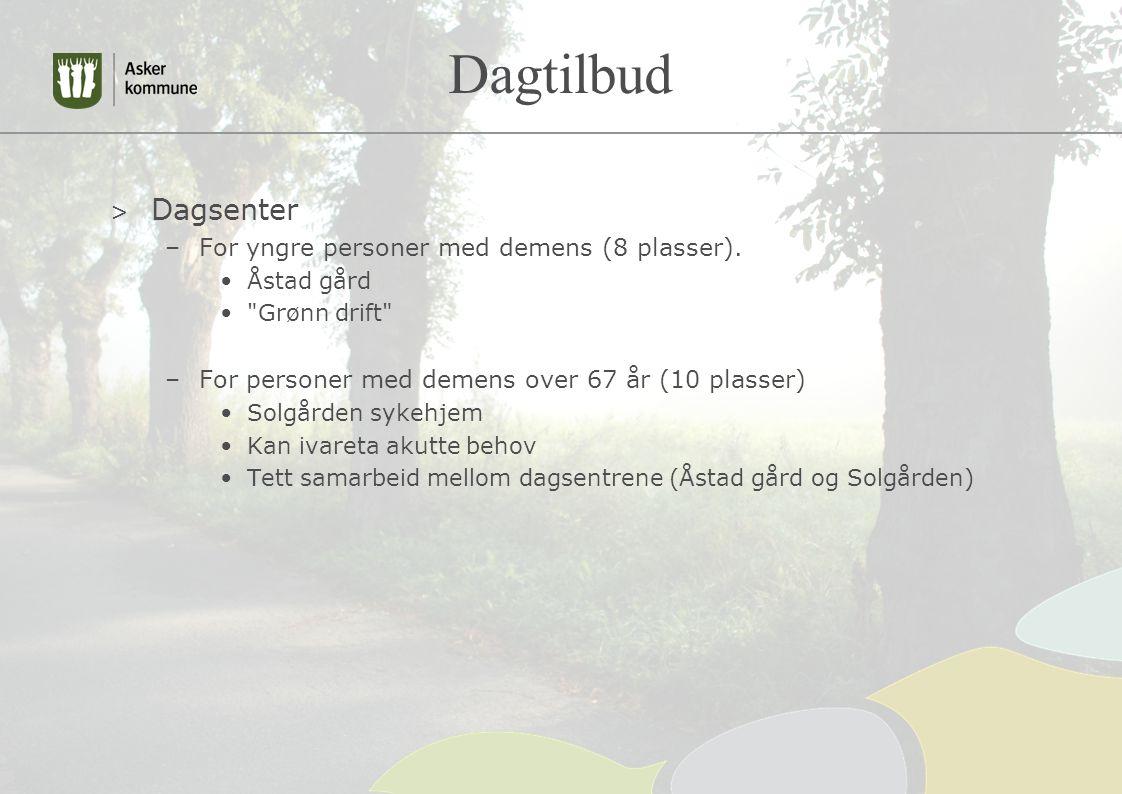 Dagtilbud > Dagsenter –For yngre personer med demens (8 plasser). Åstad gård