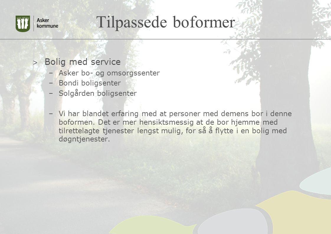 Tilpassede boformer > Bolig med service –Asker bo- og omsorgssenter –Bondi boligsenter –Solgården boligsenter –Vi har blandet erfaring med at personer med demens bor i denne boformen.