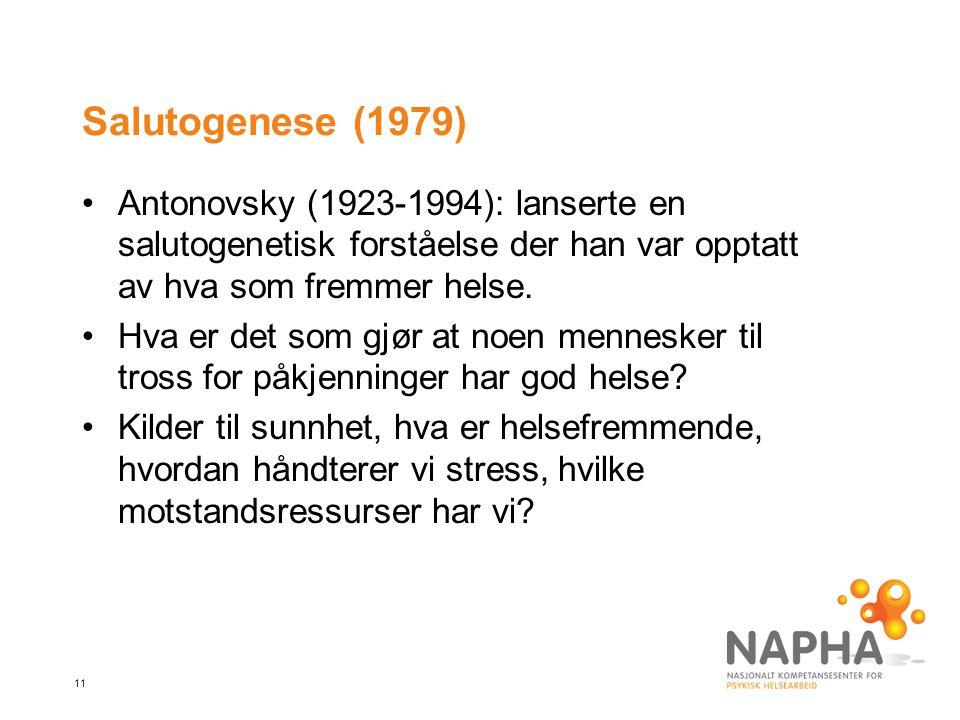 11 Salutogenese (1979) Antonovsky (1923-1994): lanserte en salutogenetisk forståelse der han var opptatt av hva som fremmer helse.