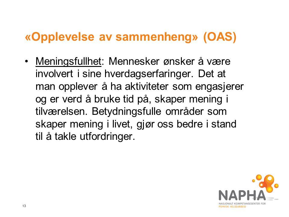 13 «Opplevelse av sammenheng» (OAS) Meningsfullhet: Mennesker ønsker å være involvert i sine hverdagserfaringer.
