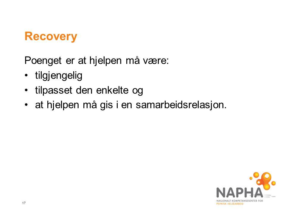 17 Recovery Poenget er at hjelpen må være: tilgjengelig tilpasset den enkelte og at hjelpen må gis i en samarbeidsrelasjon.