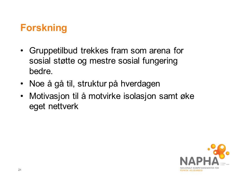 21 Forskning Gruppetilbud trekkes fram som arena for sosial støtte og mestre sosial fungering bedre.