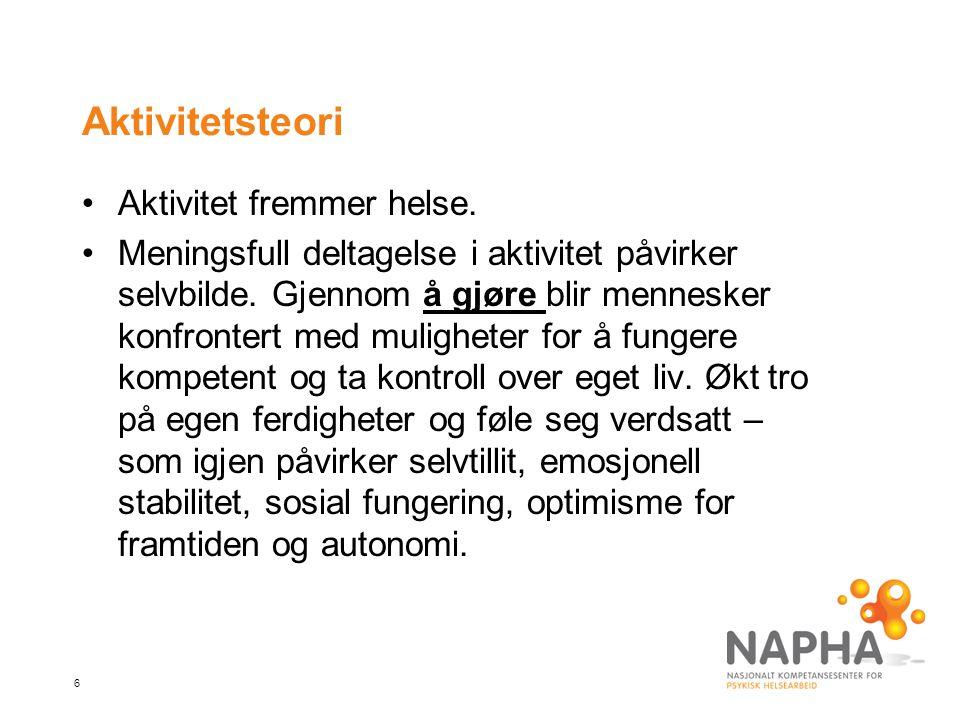 6 Aktivitetsteori Aktivitet fremmer helse.Meningsfull deltagelse i aktivitet påvirker selvbilde.
