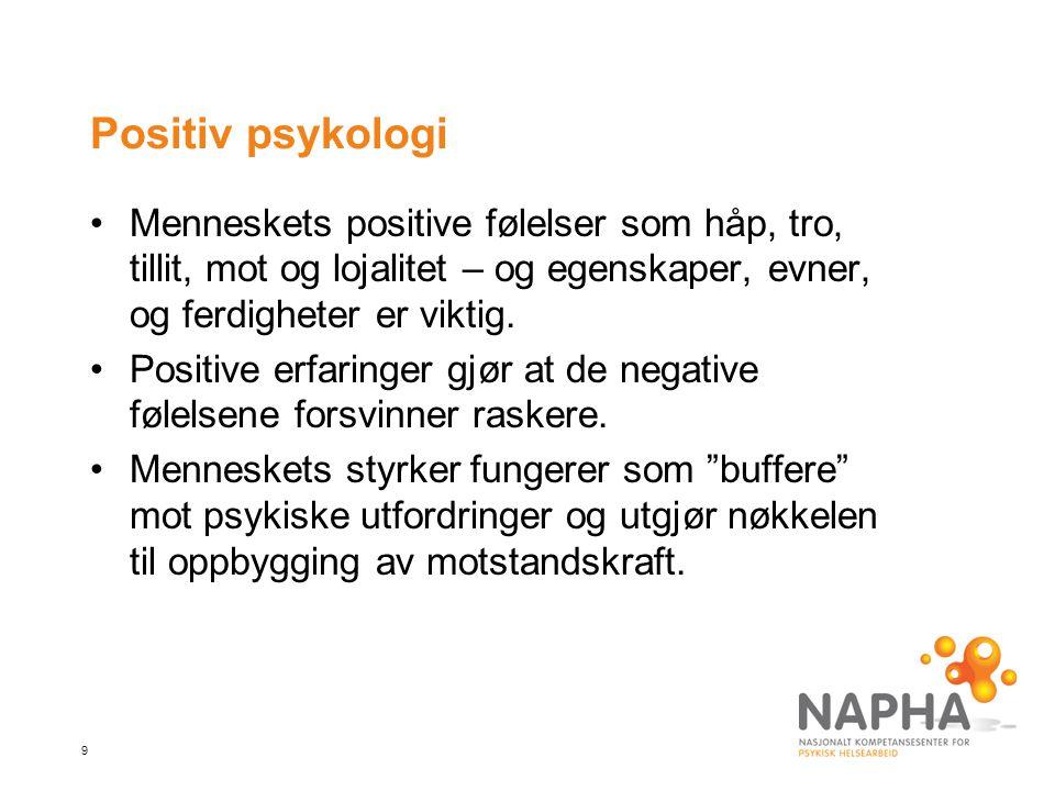 9 Positiv psykologi Menneskets positive følelser som håp, tro, tillit, mot og lojalitet – og egenskaper, evner, og ferdigheter er viktig.