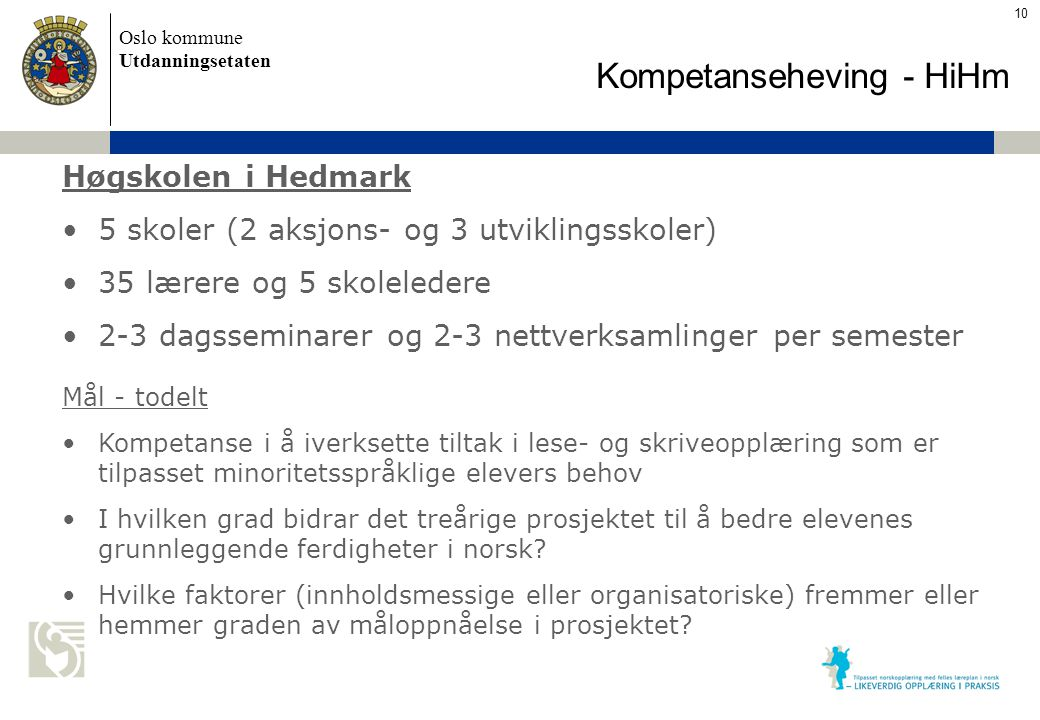 Oslo kommune Utdanningsetaten Skolens navn settes inn her Kompetanseheving - HiHm Høgskolen i Hedmark 5 skoler (2 aksjons- og 3 utviklingsskoler) 35 l