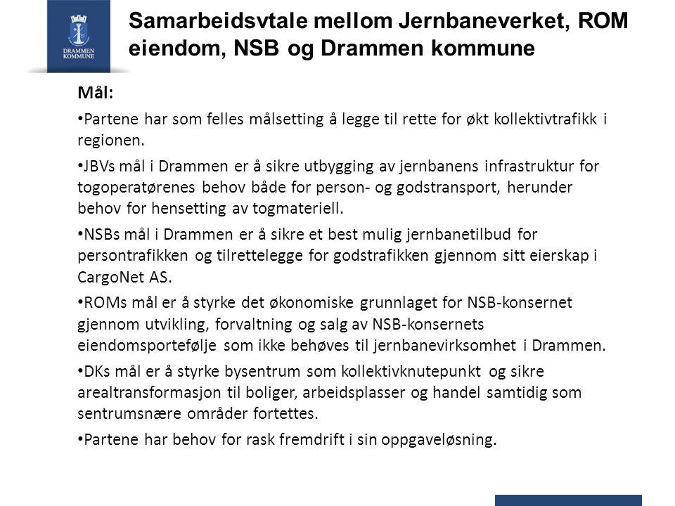 Samarbeidsvtale mellom Jernbaneverket, ROM eiendom, NSB og Drammen kommune Mål: Partene har som felles målsetting å legge til rette for økt kollektivt